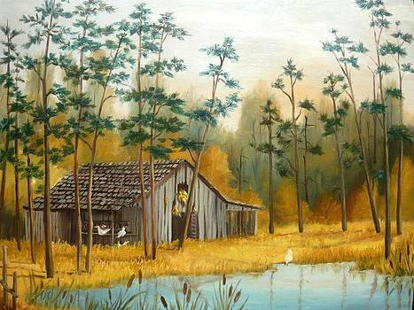 Old Barn with Chickens by Vivian Eagleson