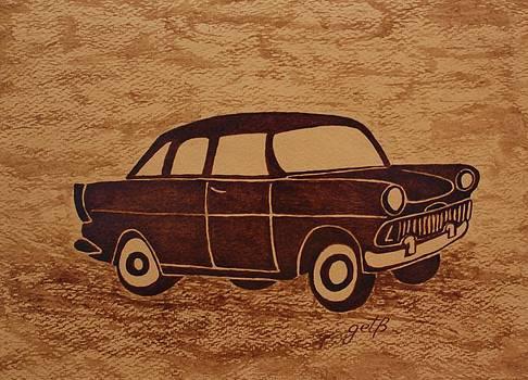Old Car coffee painting by Georgeta  Blanaru