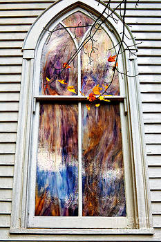 Kathleen K Parker - Old Carpenter Gothic Style Church Window in WV Fall