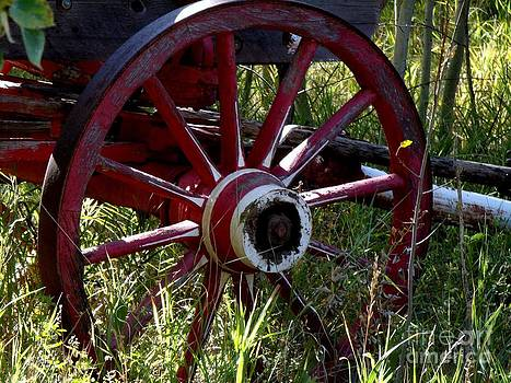 Old Fire Wagon Wheel by Donna Parlow