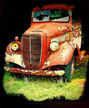 Old Red Truck in Grundge by Bonnie Willis