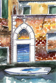 Old Venice Door and Boat by Lydia Irving