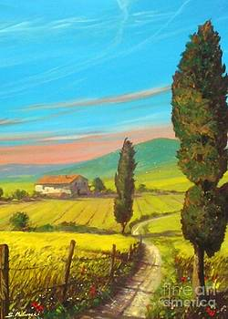 Paesaggio Con Cipressi E Casolare by Sandro  Mulinacci