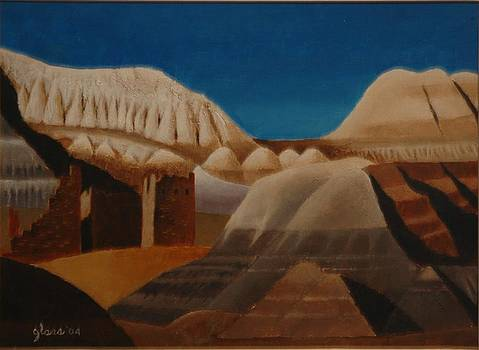 Painted Desert and Ruins by Lester Glass