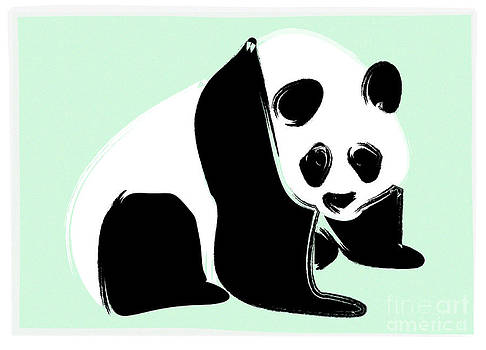 Panda on Green by Michelle Bergersen