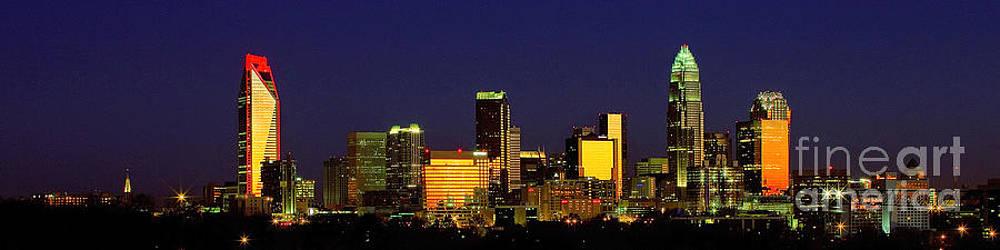 Panoramic Charlotte NC skyline by Patrick Schneider