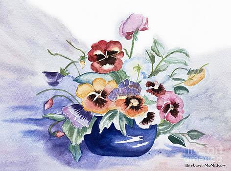 Barbara McMahon - Pansies In Blue Pot
