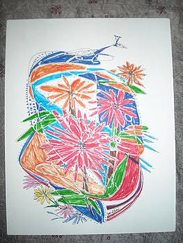 Peacock and Flowers by Bhawani Shanker  Sharma