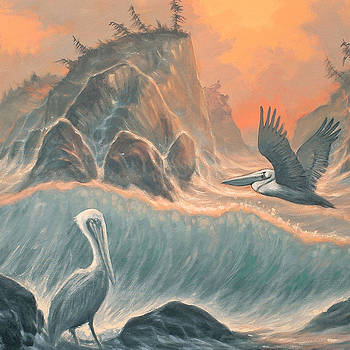 Pelican Paradise detail by Marte Thompson