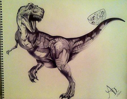 Pen Drawing of T-Rex by Maritza Montnegro