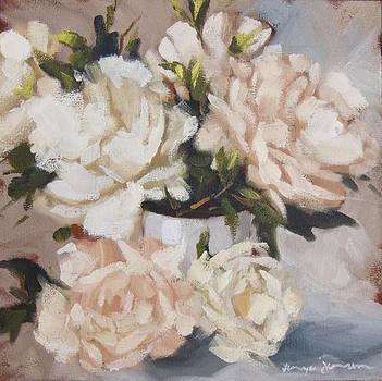 Peonies in white vase by Tanya Jansen