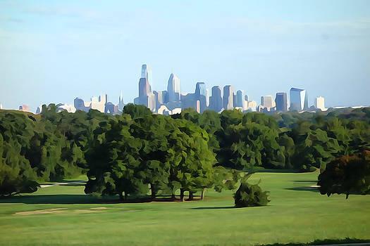 Philadelphia Skyline Digital Watercolor by Gregory Grant
