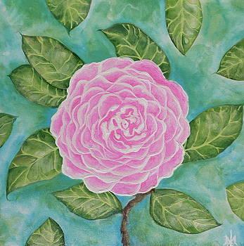 PinK Camellia on LighT GreeN by Teresa Grace Mock