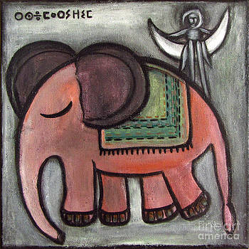 Pink elephant walking to the moon by Rosemary Lim