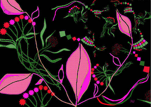 Pink Leaves and Greenery by Jan Steadman-Jackson