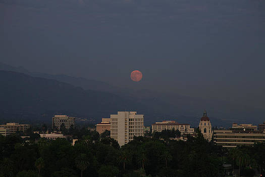 Pink Moon Over Pasadena 2 by Ann Marie Donahue