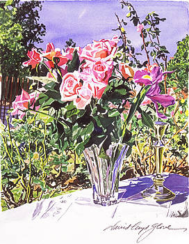 David Lloyd Glover - Pink Roses in Crystal Vase
