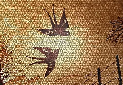 Playful Swallows 2 digital art by Georgeta  Blanaru