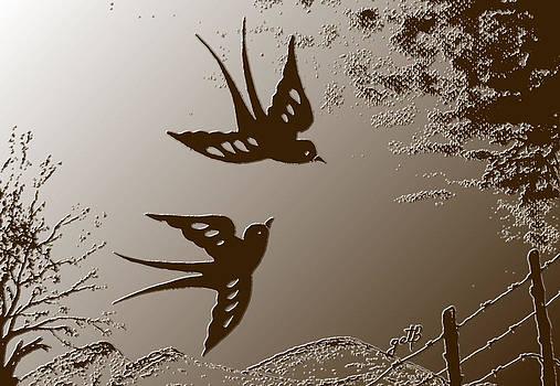 Playful Swalows digital art by Georgeta  Blanaru