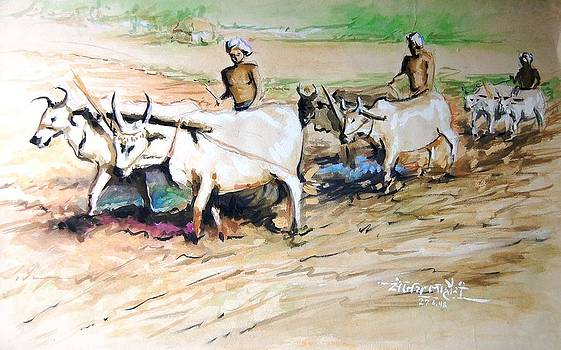 Ploughing Field by Sanjay Lahori