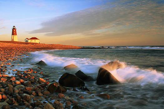 Point Judith Lighthouse Seascape by Roupen  Baker
