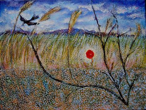 Ion vincent DAnu - Poppy and Bird Landscape