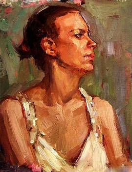 Portrait of a Stern and Distanced Hardworking Woman in Light Summer Dress with Deep Shadows Dramatic by M Zimmerman MendyZ
