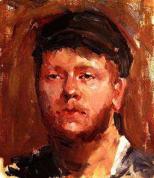 Portrait of Irish Fisherman with Weary Sad Eyes and Hard Work Face Deep Lines and Lost Souls Cap by M Zimmerman MendyZ