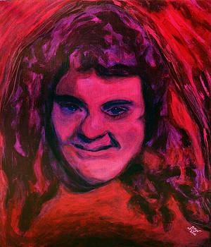 Portrait of Jenny Friedman who never gave up. figure portrait in pink purple and blue Downs Syndrome by MendyZ M Zimmerman