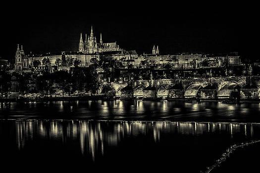 Prague at night light  by Valerii Tkachenko