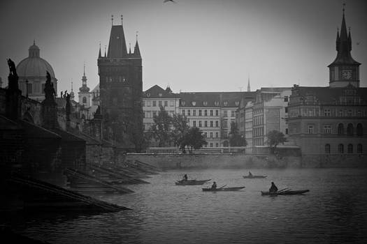 Prague Sunrise on Misty Morning by Les Abeyta