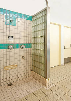Public Showers In A Swimming Pool by Marlene Ford