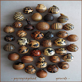 Pyrographed Custom Gourds by Dino Muradian