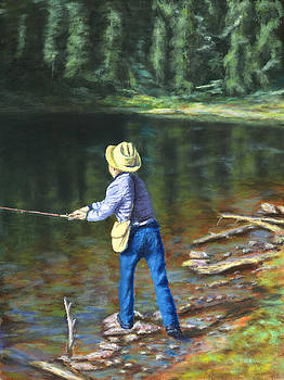 Queo Fishing at 10000 Ft Above Penasco NM by William Frew