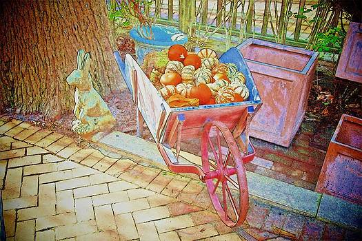 Rabbit with Pink Wheelbarrow by Don Fleming