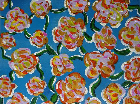 Rainbow flowers blue by Gioia Albano