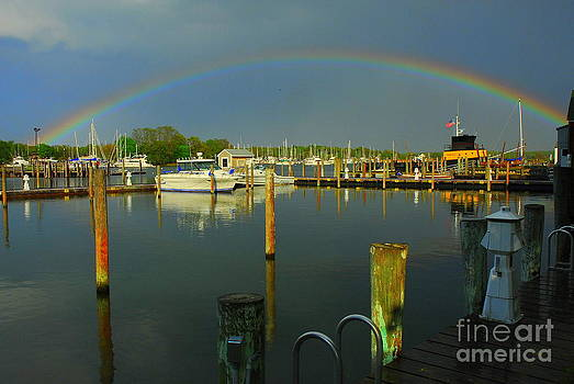 Rainbow Over Dock by Curtis Brackett