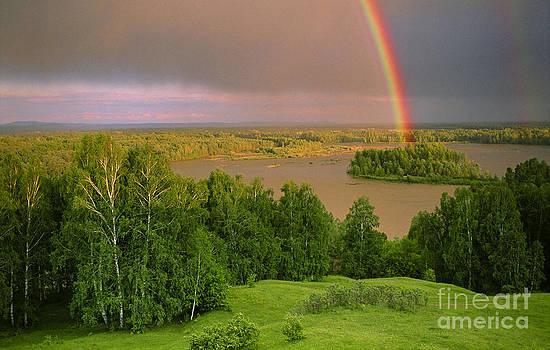 Rainbow over Katun river valley by Elena Filatova