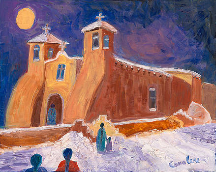 Ranchos in the Snow by Carolene Of Taos