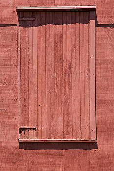 David Letts - Red Barn Door with Red Iron Hinges