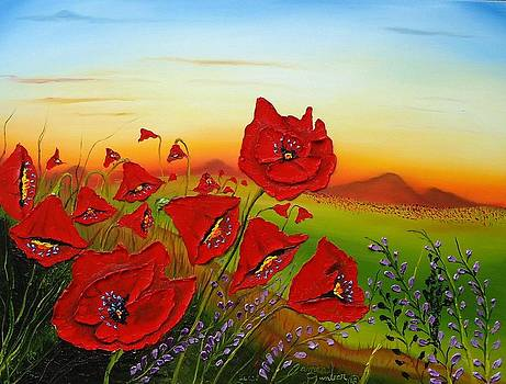 Red Poppies At Dusk 1 by Portland Art Creations