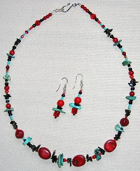 Red Turqouise Black Necklace by Elizabeth Carrozza