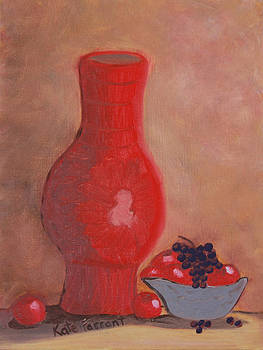 Kate Farrant - Red Vase and Fruit