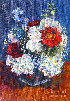 Red White and Blue Flowers by Jane  Simonson