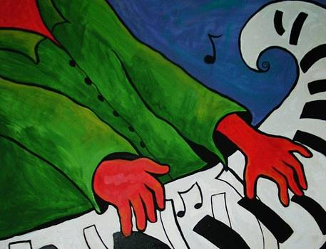 ReDhanded GreeN CoaT PianO PlaYer by Teresa Grace Mock