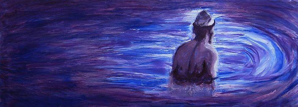 Religious Nude Male Dipping in Mikveh Baptism in Swirling Water Pool in Purple Blue  by M Zimmerman
