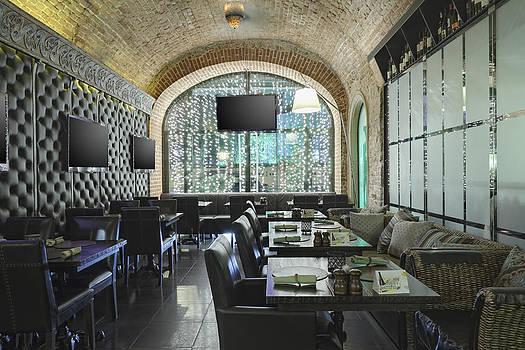 Restaurant Interior With One Wall Made by Magomed Magomedagaev