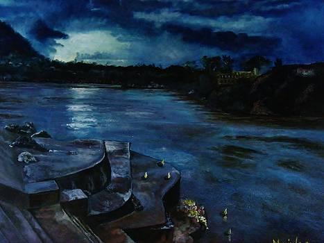 River Ganges at dusk by Manjula Prabhakaran Dubey