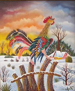 Rooster on a fence by Pavel Hajko
