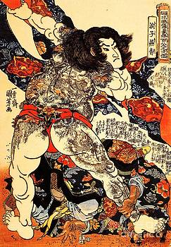 Utagawa Kuniyoshi   - Roshi Ensei Lifting Heavy Beam